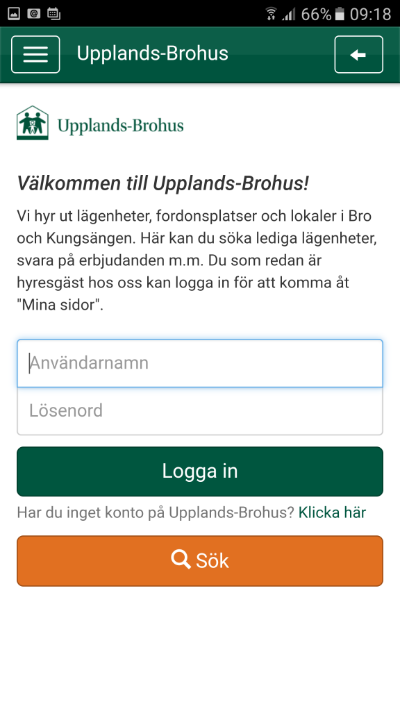 Inloggningssida appen